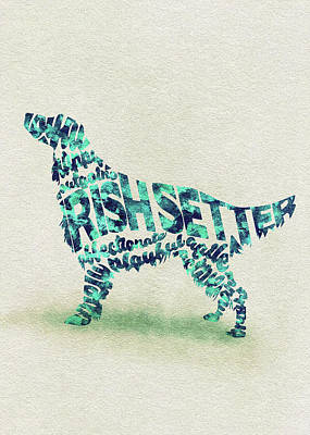 Irish Setter Watercolor Painting / Typographic Art Art Print
