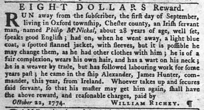 Photograph - Irish Slaves The Pennsylvania Gazette Wed Oct 26 1774 2 by Robert Rhoads