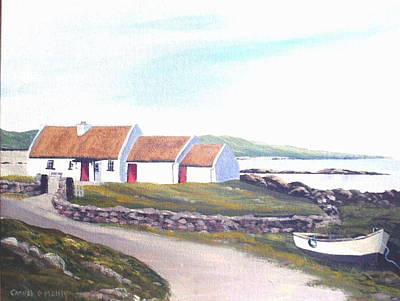 Irish Thatched Cottage Art Print by Cathal O malley