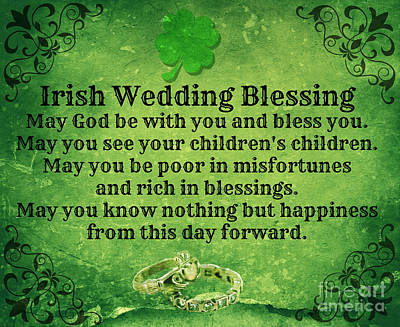 Irish Wedding Blessing Art Print by Mindy Bench
