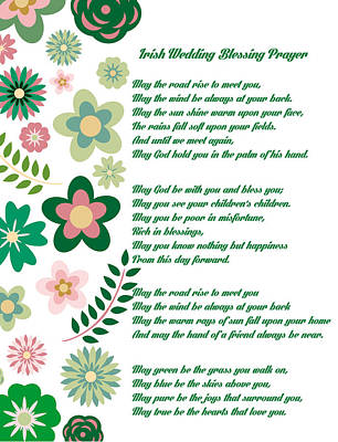 Blessings Drawing - Irish Wedding Blessing Prayer by Celestial Images