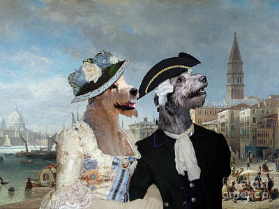 Painting - Irish Wolfhound Art Canvas Print  -  View Of The Punta Della Dogana by Sandra Sij