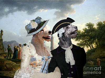 Painting - Irish Wolfhound Art Canvas Print  - A Sea Shore by Sandra Sij