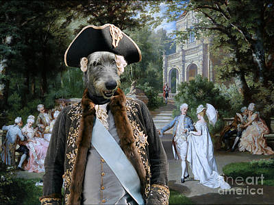 Painting - Irish Wolfhound Art Canvas Print  - The Garden Party by Sandra Sij