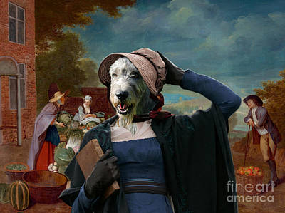 Painting - Irish Wolfhound Art Canvas Print  - The Vegetable Seller by Sandra Sij