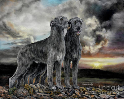Irish Wolfhound Pair - Majestic Irish Sunset Original