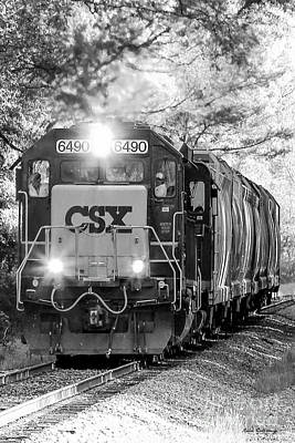 Photograph - Iron Age Engineers Bw Csx Locomotive Art by Reid Callaway