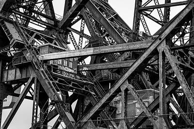 Photograph - Iron Bridge Close Up In Black And White by Anthony Doudt