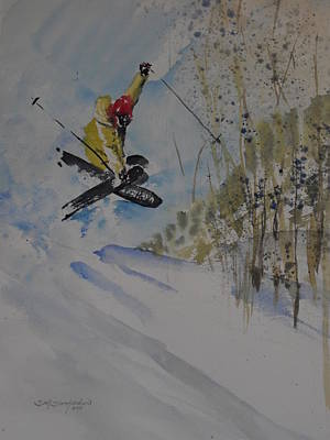 Skiing Action Painting - Iron Cross At Beaver Creek by Sandra Strohschein