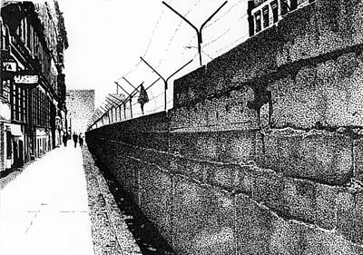 Berlin Drawing - Iron Curtain by Lyle Brown