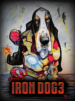 Superheroes Drawing - Iron Dog 3 by John LaFree