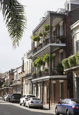 Photograph - Iron Filigree Balconies In French Quarter by Gregory Scott