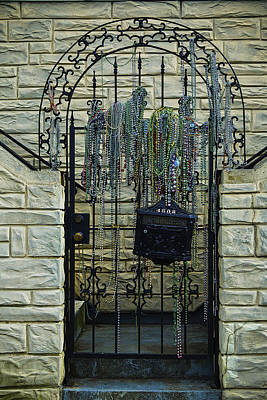 Mailbox Photograph - Iron Gate With Colorful Beads by Garry Gay
