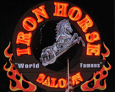 Flag Pole Digital Art - Iron Horse Saloon In Neon by DigiArt Diaries by Vicky B Fuller