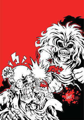 Eddie Digital Art - Iron Maiden Vs Megadeth by Caio Caldas