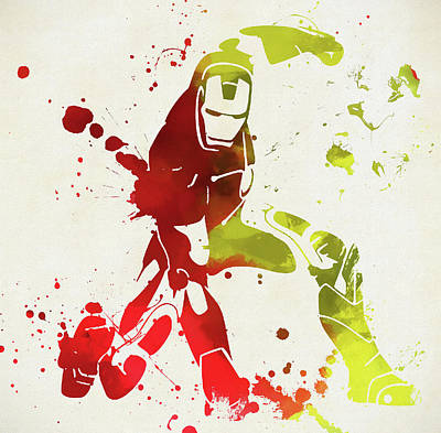 Painting - Iron Man Paint Splatter by Dan Sproul