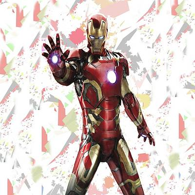Crime Fighter Mixed Media - Iron Man Splash Super Hero Series by Movie Poster Prints