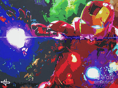 Blockbuster Painting - Iron Man - Stark Contrast by Kelly Hartman