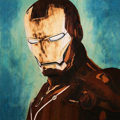 Iron Man Unique Handmade Marquetry Portrait Art Print