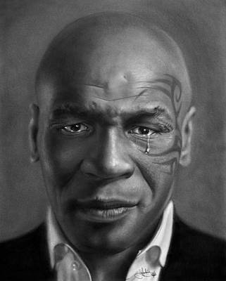 Boxer Drawing - Iron Mike Tyson Drawing by John Harding