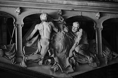 Photograph - Iron Sculpture On Pont Bir Hakim Bridge Seine River Paris France Black And White by Shawn O'Brien