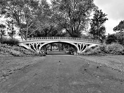 Photograph - Iron White Bridge Of Central Park B W by Rob Hans
