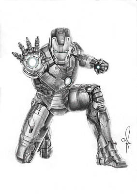Robert Downey Jr Drawing Drawing - Ironman by Artistyf
