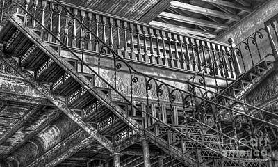 Photograph - Ironworks Stairs Bw Historic Interior Design Art by Reid Callaway