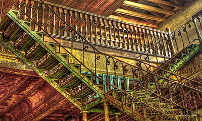 Photograph - Ironworks Stairs Historic Interior Design Art by Reid Callaway