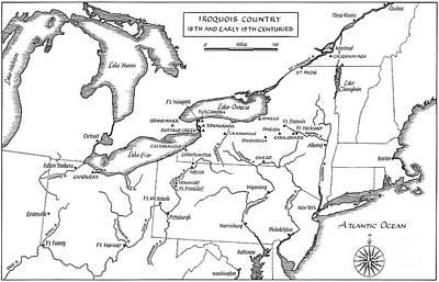 Lake Michigan Drawing - Iroquois Map, C.18th Century. by Granger