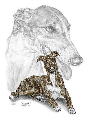 Rescued Greyhound Drawing - Irresistible - Greyhound Dog Print Color Tinted by Kelli Swan