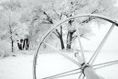 Photograph - Irrigation Wheel In The Snow by Inga Spence