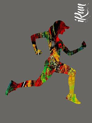 Girls Mixed Media - iRun Fitness Collection by Marvin Blaine