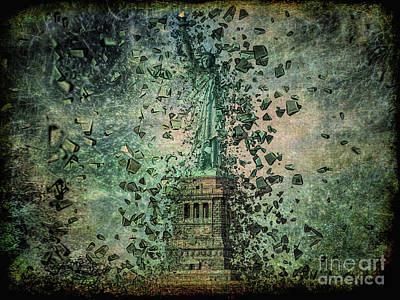 Statue Of Liberty Mixed Media - Is Liberty In Danger? by Edelberto Cabrera