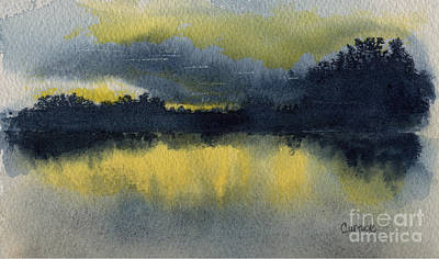 Sunrise Over Water Painting - Is This A New Beginning? by Carolyn Curtice