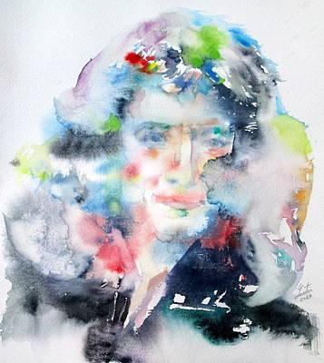 Newton Painting - Isaac Newton - Watercolor Portrait by Fabrizio Cassetta