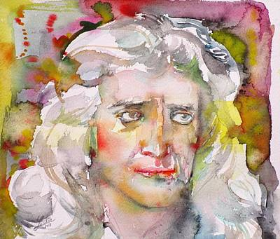 Painting - Isaac Newton - Watercolor Portrait.2 by Fabrizio Cassetta