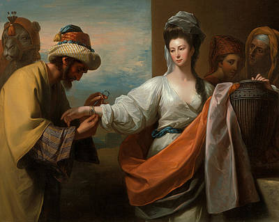 Painting - Isaac's Servant Tying The Bracelet On Rebecca's Arm by Benjamin West