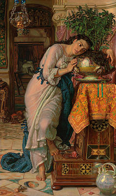 Literature Painting - Isabella And The Pot Of Basil by William Holman Hunt