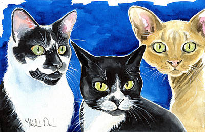 Painting - Isabella, Millie And Dexter - Cat Painting by Dora Hathazi Mendes