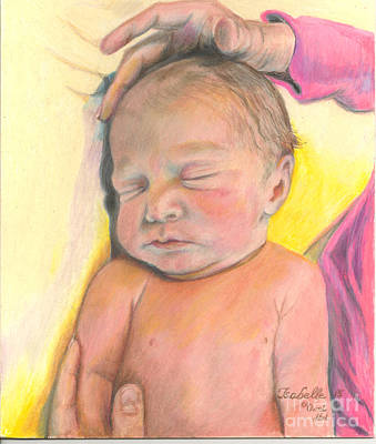 Painting - Isabelle - First Day - Newborn by Jan Dappen
