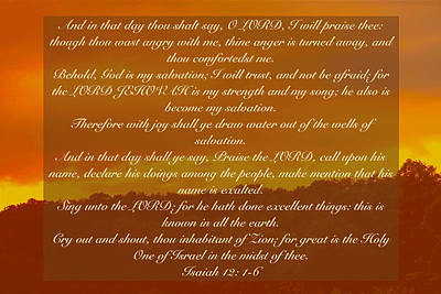 Isaiah 12 On A Sunset Background Art Print by Debbie Nobile