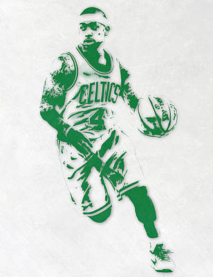 Basket Ball Mixed Media - Isaiah Thomas Boston Celtics Pixel Art 2 by Joe Hamilton