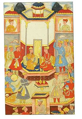17th Century Painting - Isfandiyar Taking Refreshments With A Princess by Eastern Accent