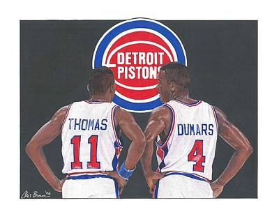 Mixed Media - Isiah Thomas And Joe Dumars by Chris Brown