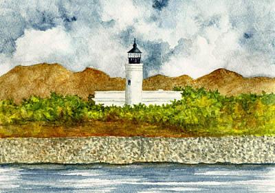 Puerto Rico Painting - Isla De Cardona Lighthouse by Michael Vigliotti