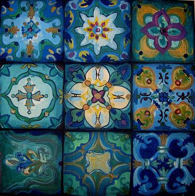 Ceramic Art Tile Painting - Islamic Ceramic Pattern by Luciana Toma