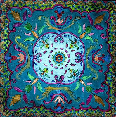 Ceramic Art Tile Painting - Islamic Pattern by Luciana Toma