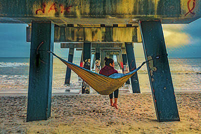 Photograph - Island Dreams Under The Pier In Blue And Gold by Debra and Dave Vanderlaan