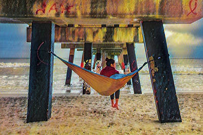 Photograph - Island Dreams Under The Pier Oil Painting by Debra and Dave Vanderlaan